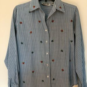 Tops - Vintage | floral striped button down blouse
